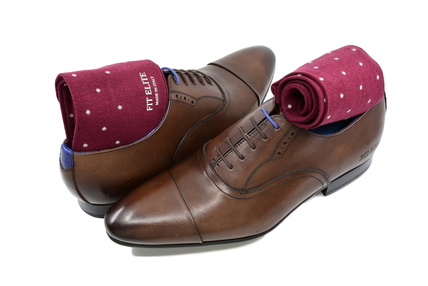 Men's burgundy dress socks with grey polka dots and brown shoes