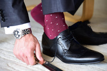 Men's fashion socks for a formal outfit, burgundy with grey polka dots