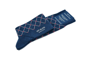 Men's navy blue socks with red polka dots, mid calf, made in Italy
