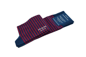 Men's thin striped socks, navy blue and red, mid calf, made in Italy