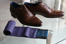 Premium dress socks for men with purple stripes and brown oxford shoes