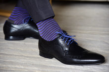 Striped purple dress socks for men by Fit Elite matching black suit