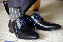 Unique and elegant dress socks for men, grey with ribbed vertical stripes