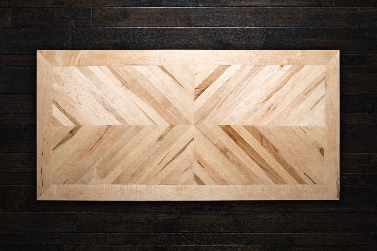 Maple Mirrored Chevron Table