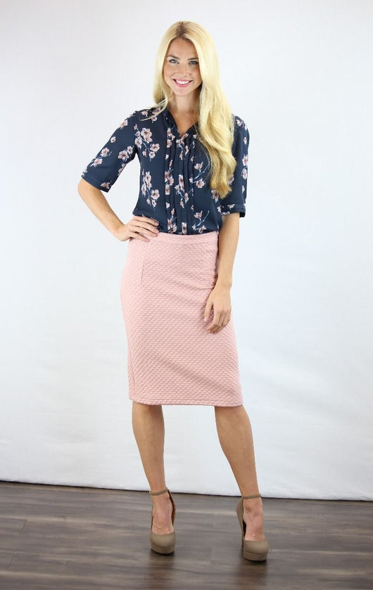 Navy Floral Placket Top