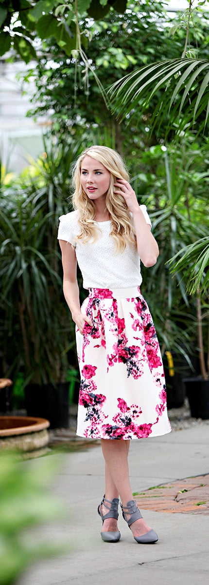Fuschia Watercolor Floral Skirt