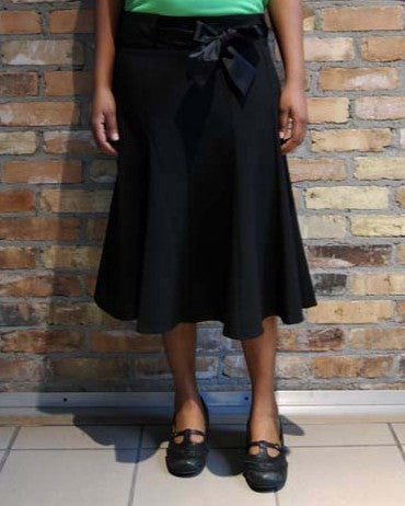 Panel Skirt with Ribbon Belt
