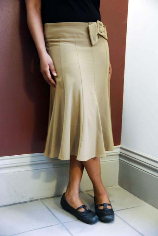 Faux Bow Belt Gored skirt