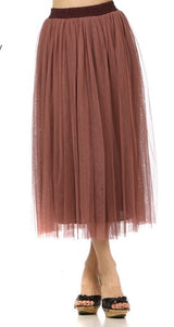 Rose Tulle Midi Skirt