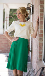 Pleated Skirt in Kelly Green