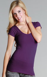 Purple- Cap Sleeve Layering Top