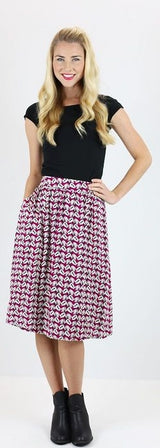 Burgandy Floral Skirt