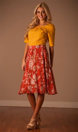 Rust Floral Circle Skirt