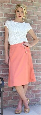 Pleated Skirt in Coral