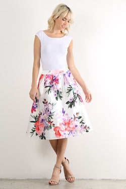 Floral Satin Skirt - Modest Skirts - Sister Missionary Clothing - Sorella Bella