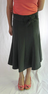 Bow Belt Swirl Skirt - Gray
