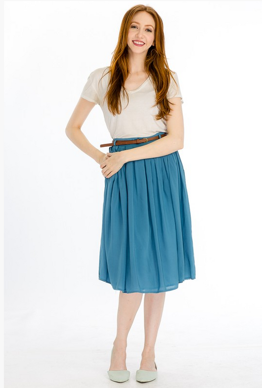 Morning Glory in Vintage Blue - Modest Skirts - Sister Missionary Clothing - Sorella Bella