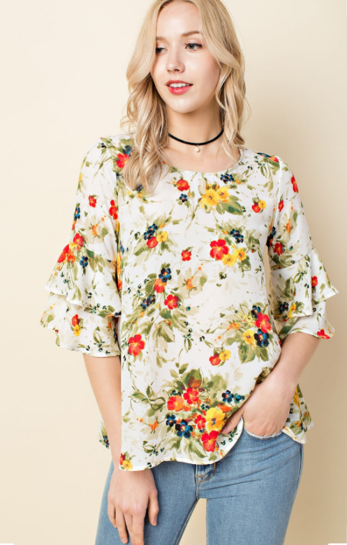 Floral Chiffon Blouse - Modest Tops - Sister Missionary Clothing - Sorella Bella