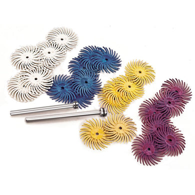 3M Radial Bristle Discs, 44 piece assortment kit, 3/4