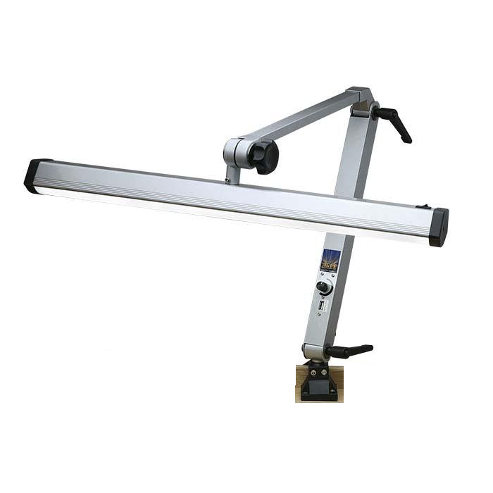 Extra-Wide Silver-Finish Jeweler's LED Task Lamp with USB Port-Pepetools