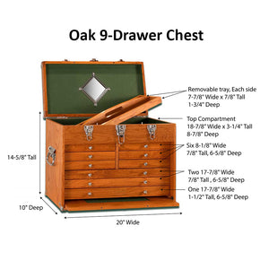 T20 Oak 9-Drawer Top Chest