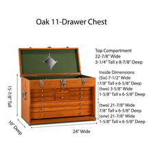 Load image into Gallery viewer, T24 Oak 11-Drawer Chest Dimensions