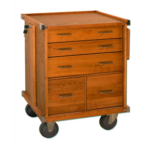 R24 Oak 5-Drawer Roller Cabinet