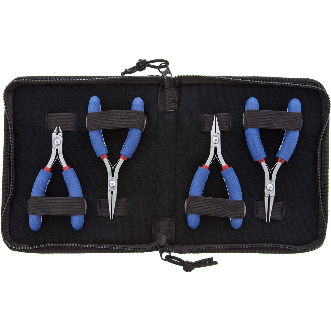 4 Piece Plier Set, Round Nose, Chain Nose, Flat Nose, Taper Cutter