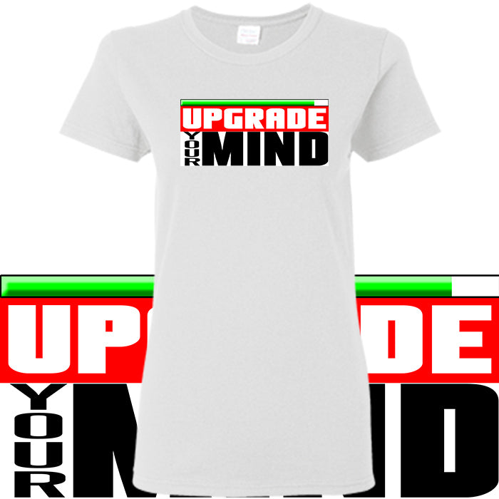 T shirt femme - Upgrade your mind - noir/blanc/rouge