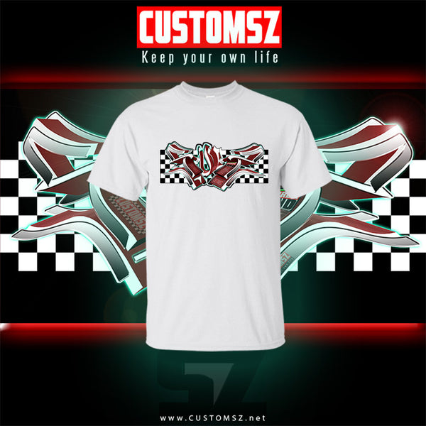 T shirt SUOZ - Damier Graffiti style Customsz - noir/blanc/rouge
