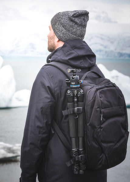 Slik Carbon Fiber Tripod on backpack