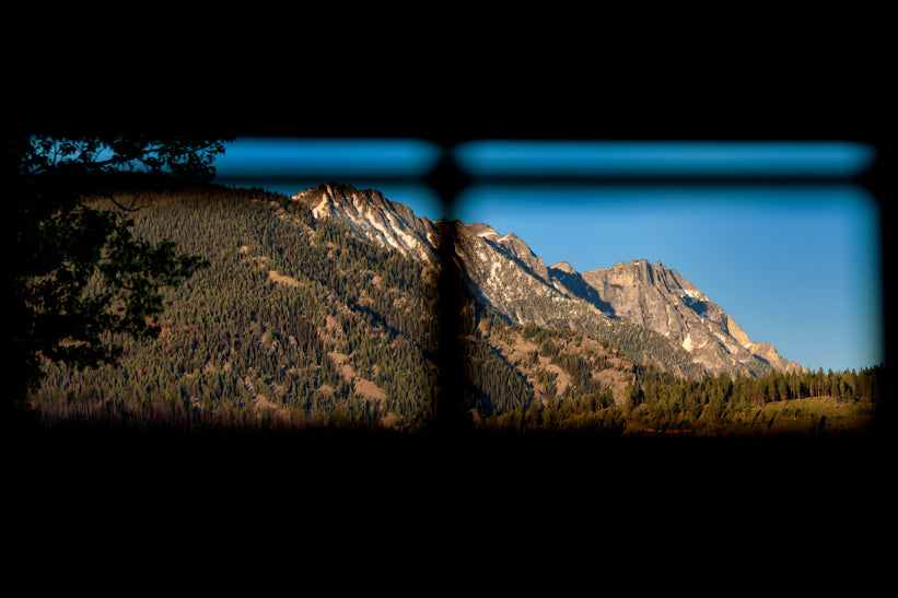 mountain ridge through the perspective of a window