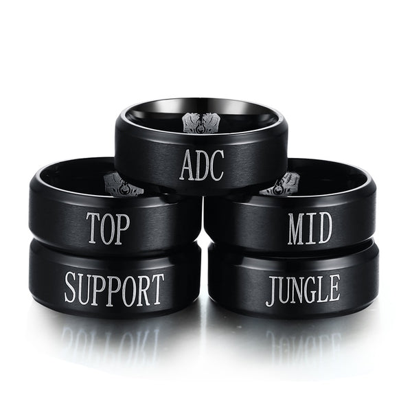 Stainless Steel League of Legends - Jungle Adc Mid Support Engraved,Black