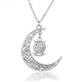Glowing Owl and Crescent  Moon Vintage Necklace