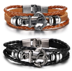 Vintage Leather Anchor Bracelet Men Women