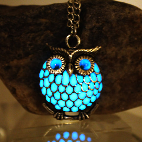 The Owl Glow in the Dark Pendant Silver Plated Necklace