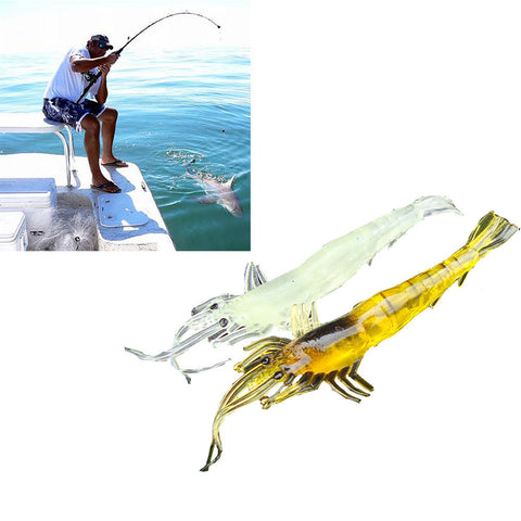 5pcs Shrimp Soft Prawn Lure Hook Tackle Bait Saltwater Bass Soft Fishing Lures  for bass #E0