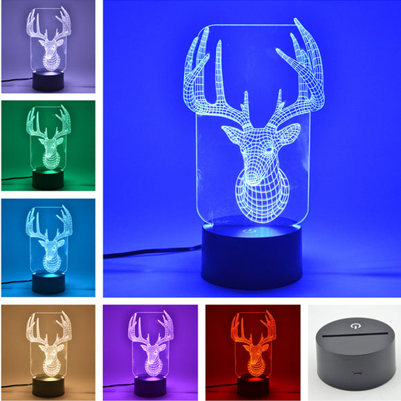 3D 7-Color Hologram Deer Night Light