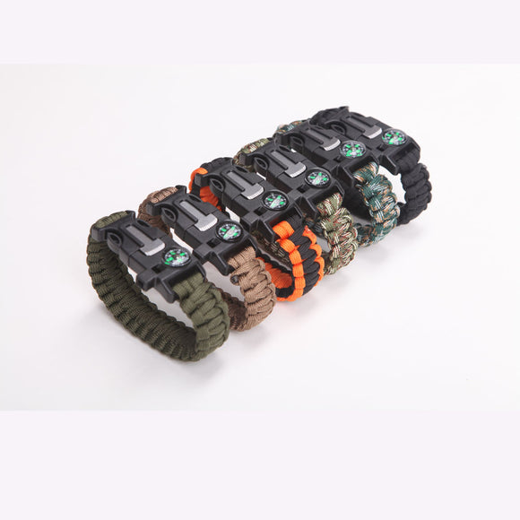 Premium Quality Camping Paracord Survival Bracelet - Best Safety Band For Camping and Hiking - 12-in-1 Features; Compass, Thermometer, Knife, Fire Starter, Emergency Whistle, and More