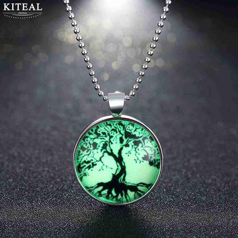 Tree of Life Glow in the Dark Vintage Pendant Necklace