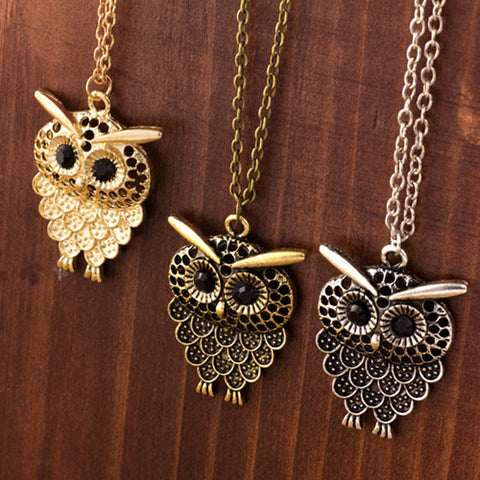 New Arrivals! 3 Vintage Owl Pendant Necklaces in Golden, Antique Silver & Bronze