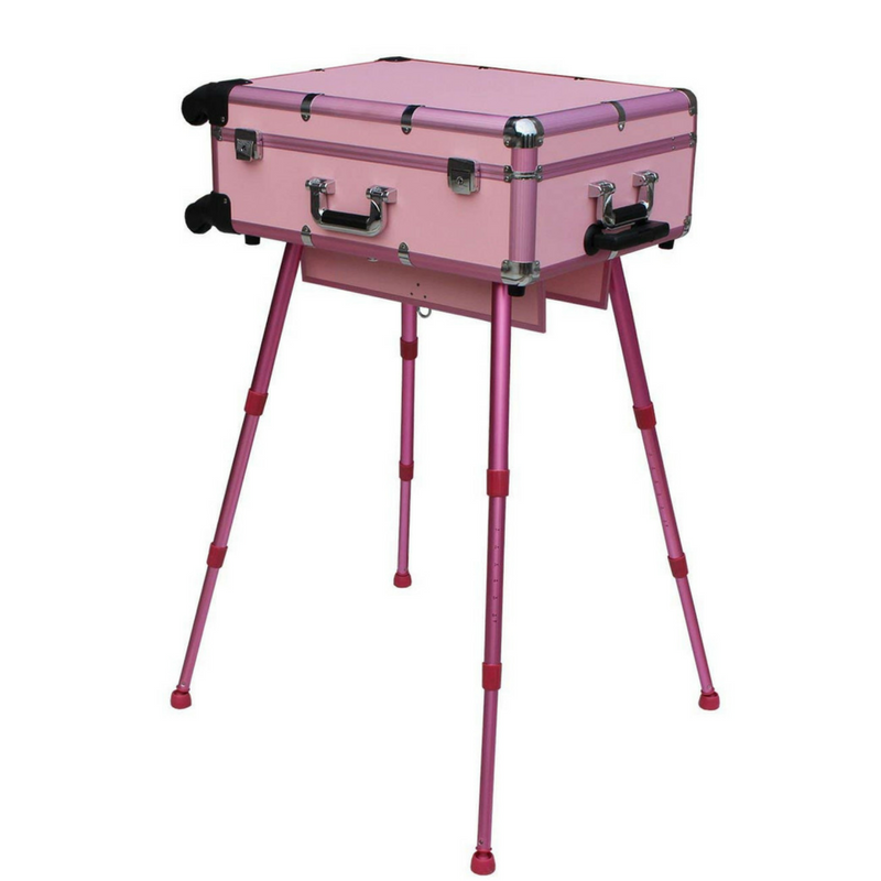Aluminum Professional Hair & Makeup Case + Chair Set - Pink