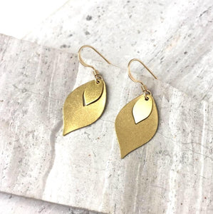 Gold Flame — Brass Dangle Earrings