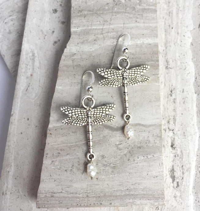 Sterling Silver Dragonfly Earrings — Pearl Dangle