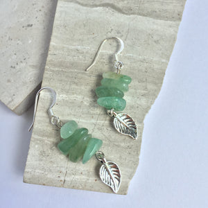 Aventurine Gemstone silver leaf Earrings