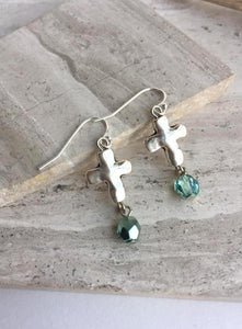 Silver natural Cross Turquoise bead Earrings