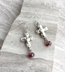 Silver natural Cross Red bead Earrings