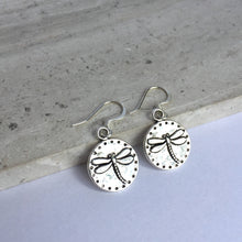 Silver Dragonfly disk Earrings