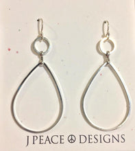 Circle droplet Silver Hoop earrings