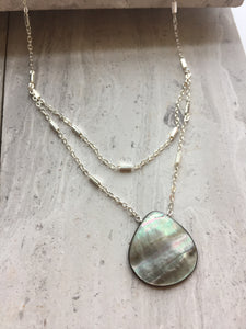 Abalone Double Chain Necklace, darker side